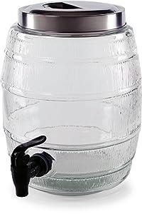 Circleware 66948 Barrel Shaped Sun Tea Jar Beverage Dispenser, Fun Party Entertainment Home Kitchen Glassware Water Pitcher for Juice, Beer, Kombucha & Cold Drinks, Lead-Free, 1.3 Gallon, Keg