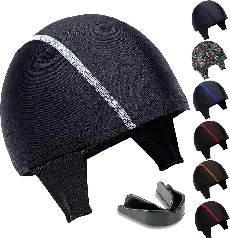 Koyes Wrestling Head Gear Cap (Black-White) - Bonus Mouthguard Included! : Sports & Outdoors