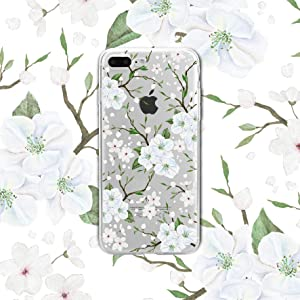 Zeronal iPhone 8/7 Plus Case White Flower Floral Case Clear for Girl Women Soft TPU Bumper Case Anti-Slip White Shell, Shockproof Full-Body Protection Case for iPhone 7/8 Plus Cover Cherry Blossom
