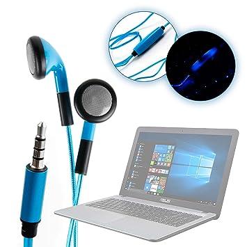 DURAGADGET Auriculares In-Ear Con Luz LED Azul Para Ordenador portátil Asus ROG G752VS OC