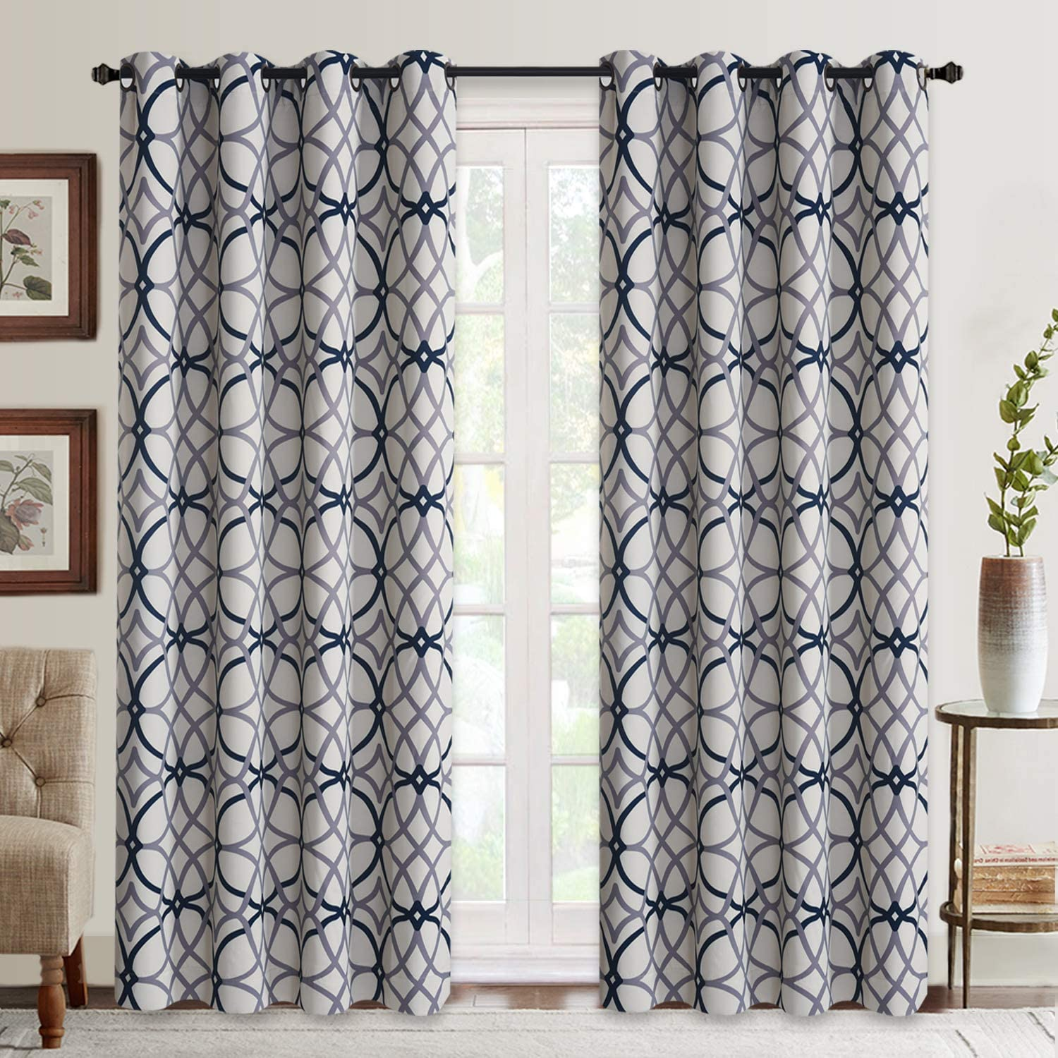 Amazon Com Curtains For Living Room Geometric Pattern Room Darkening Blackout Curtains For Bedroom Thermal Insulated Drapes Grey And Navy 52 By 84 Inch 2 Panels Kitchen Dining
