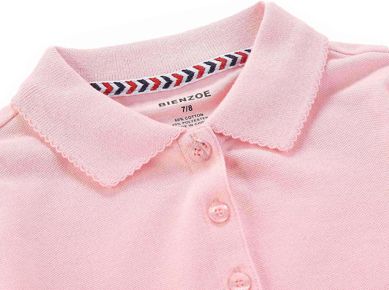 Bienzoe Girls School Uniform Breathable Short Sleeve Polo 2pcs Pack