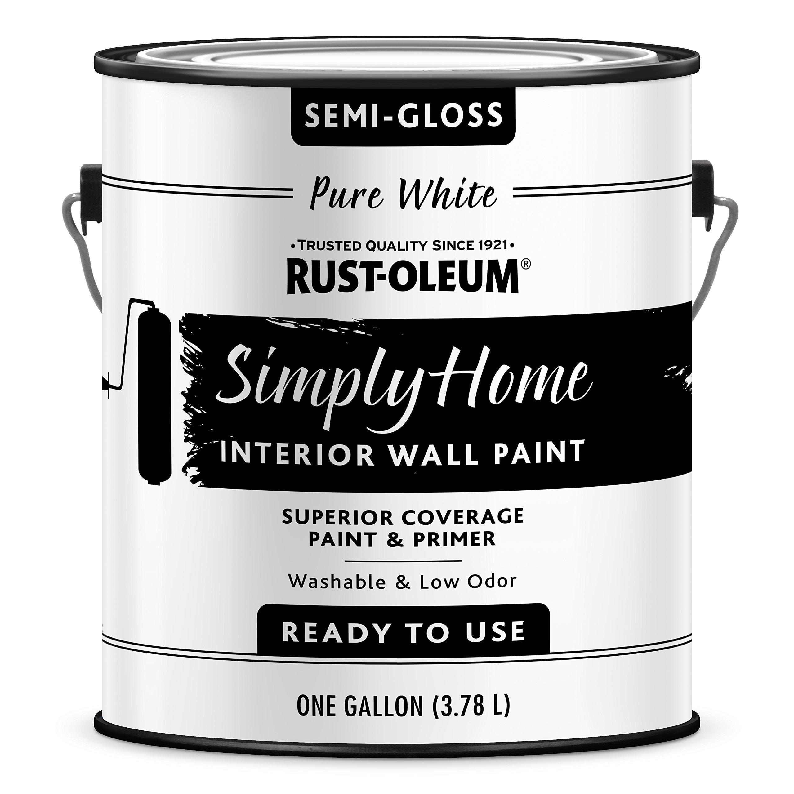 Rust-Oleum 332120-2PK Simply Home Interior Wall Paint, Gallon, Semi-Gloss Pure White
