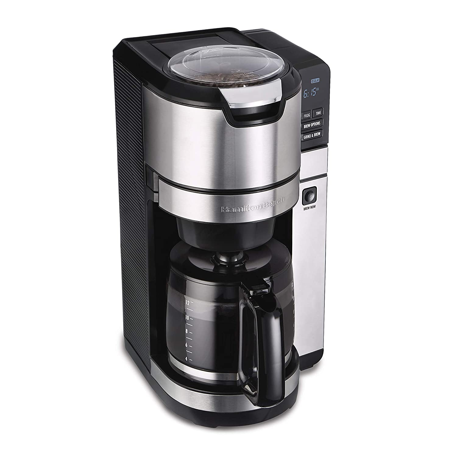 Hamilton Beach 45500 Grind and Brew Programmable 12 Cup Maker with Built-in Auto-Rinsing Coffee Grinder, Glass Carafe