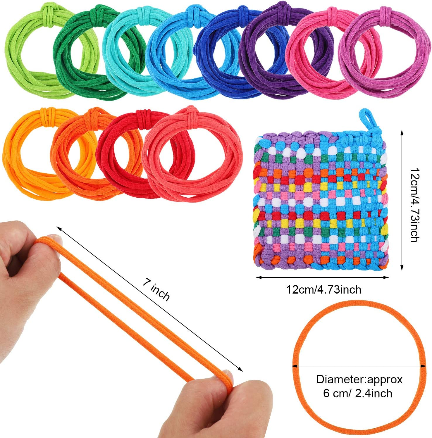 196 Pieces Compatible with 7 Inches Weaving Loom Loom Potholder Loops Weaving Craft Loops 12 Multiple Colors Cotton Loom Loops for DIY Crafts Supplies