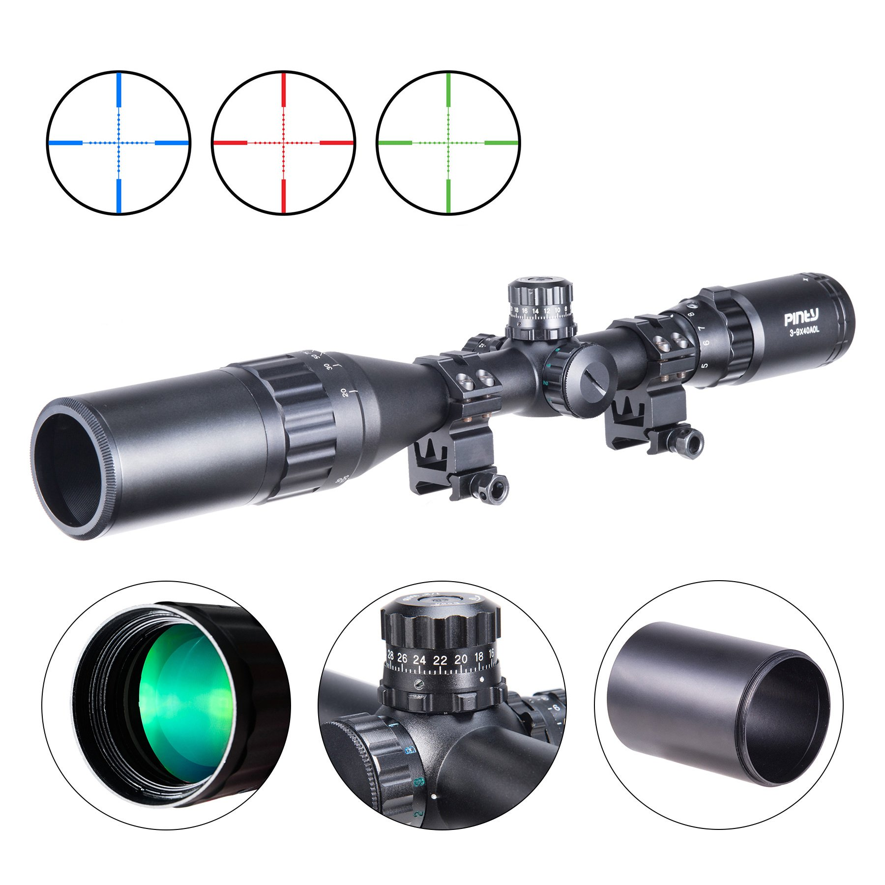 Pinty 3-9X40 Rifle Scope AO Red Green Blue Illuminated Mil Dot with Flip-Open Covers & Sunshade Tube