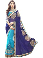 Panchratna Women's Embroidered Blue And Sky Half And Half Georgette Saree With Blouse Material