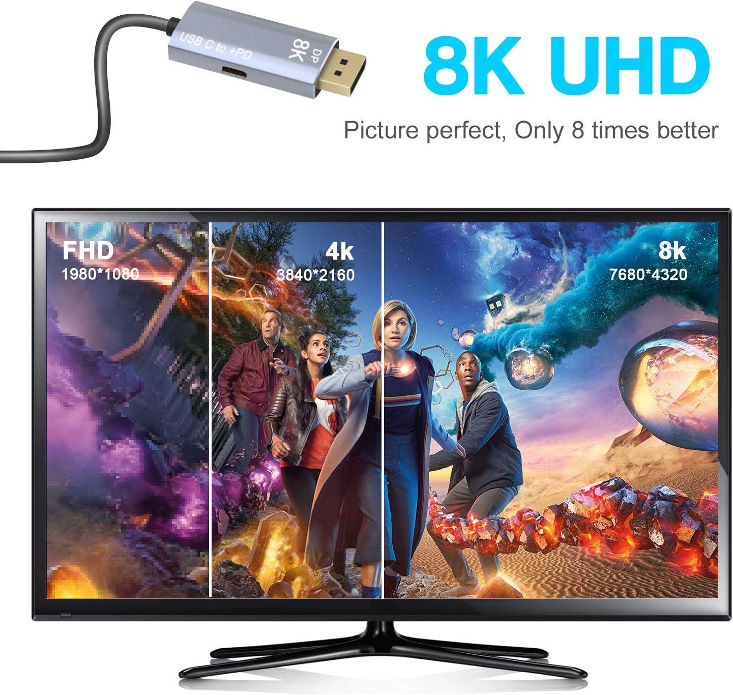 CABLEDECONN USB C a DisplayPort 1.4 Cable 8K con Convertidor USB-C PD 8K@60Hz 4K@144Hz Adaptador Thunderbolt 3 a DisplayPort Compatible con el Nuevo MacBook Pro 2019 2020 2M: Amazon.es: Electrónica
