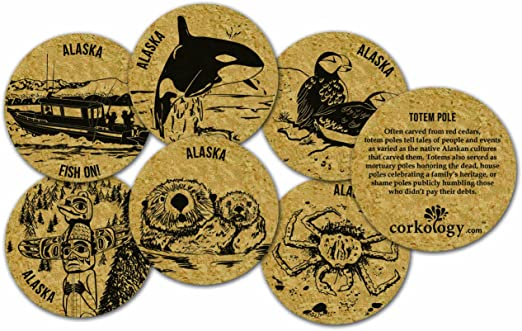 Cork 429 Corkology Alaska Whale Coaster Set