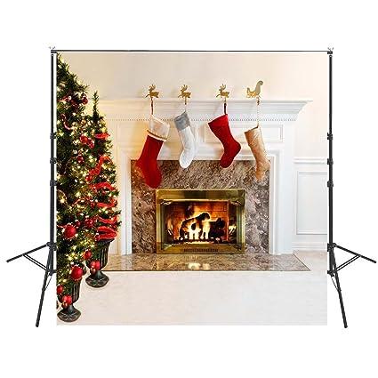 Custom Made Navidad Fondos para fotografía 8 x 8FT niños calcetines de regalo de árbol de