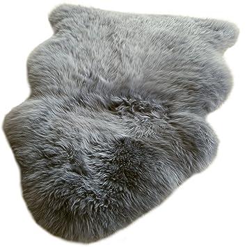 8d5d2d4a1a1507 Premium New Zealand Lammfell grau Spitzenqualität ca. 105-110 cm waschbar  geruchsneutral
