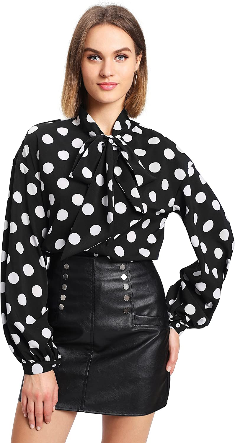Floerns Women's Bow Tied Neck Lantern Long Sleeve Polka Dots Blouse