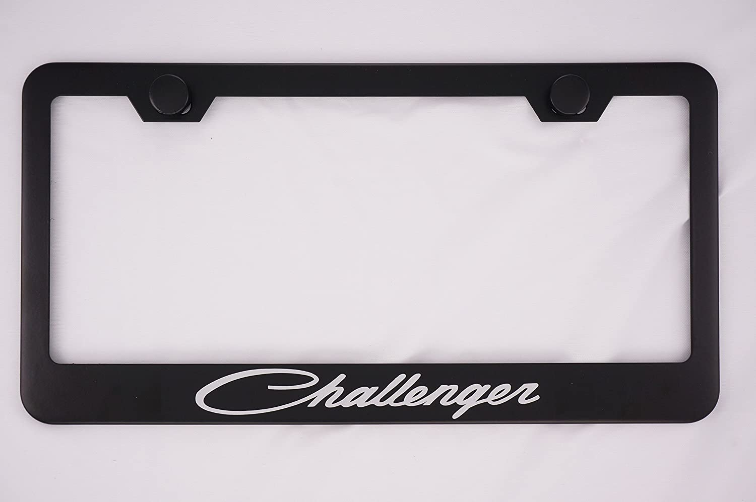 Dodge Challenger Black License Plate Frame with Caps