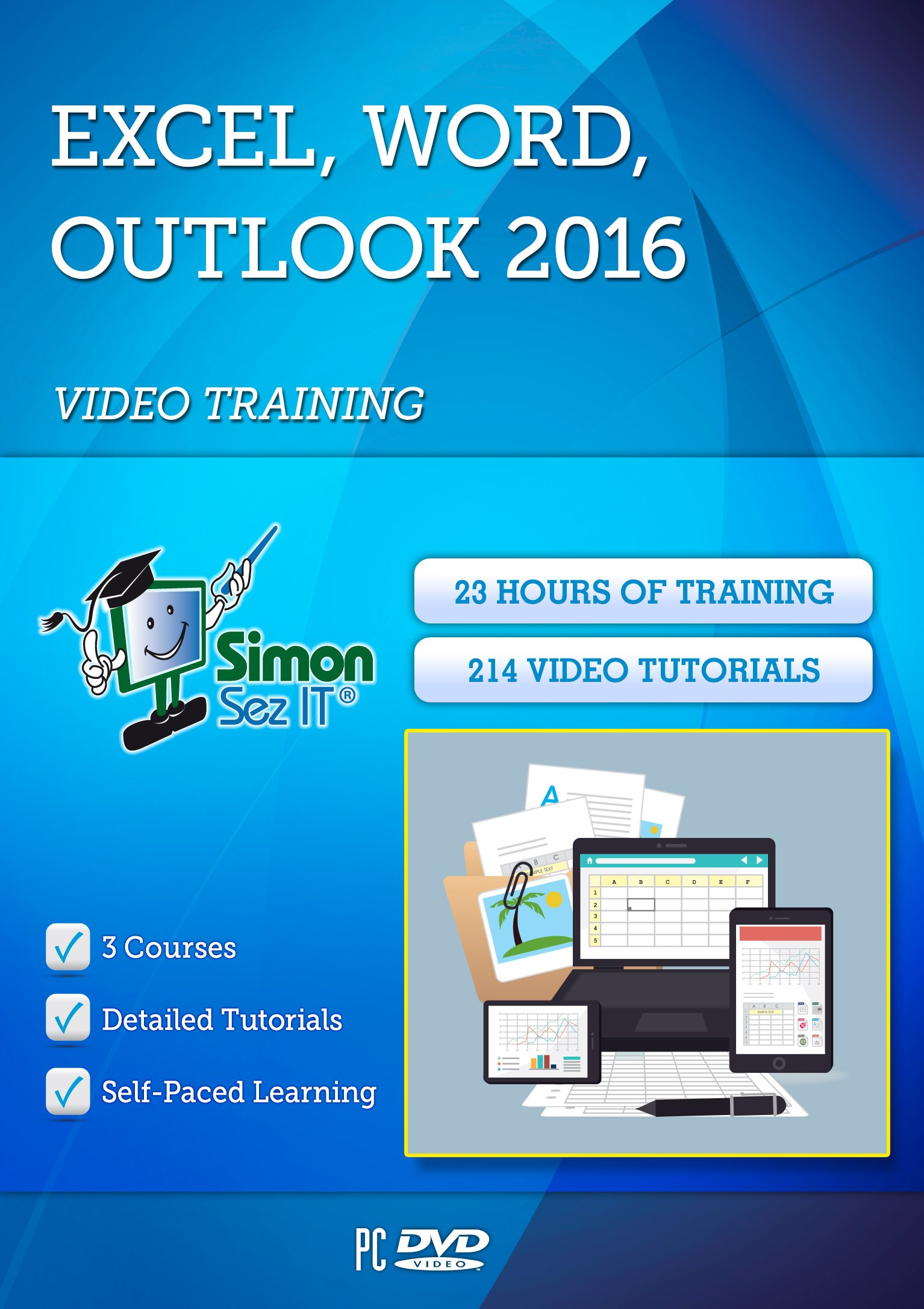 Excel, Outlook & Word 2016 For Beginners By Simon Sez IT: 3 Self-Based Courses With 23-Hour-Long Video Training Tutorials & Exercise Files by Simon Sez IT