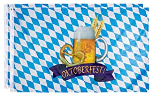 Juvale Oktoberfest Flags - 2-Pack Bavarian Flags, German Bunting Banners, Perfect for Outdoor, Indoor, Home and Garden Decoration, Beer and Pretzel Design, Blue & White, 35.4 x 59 inches