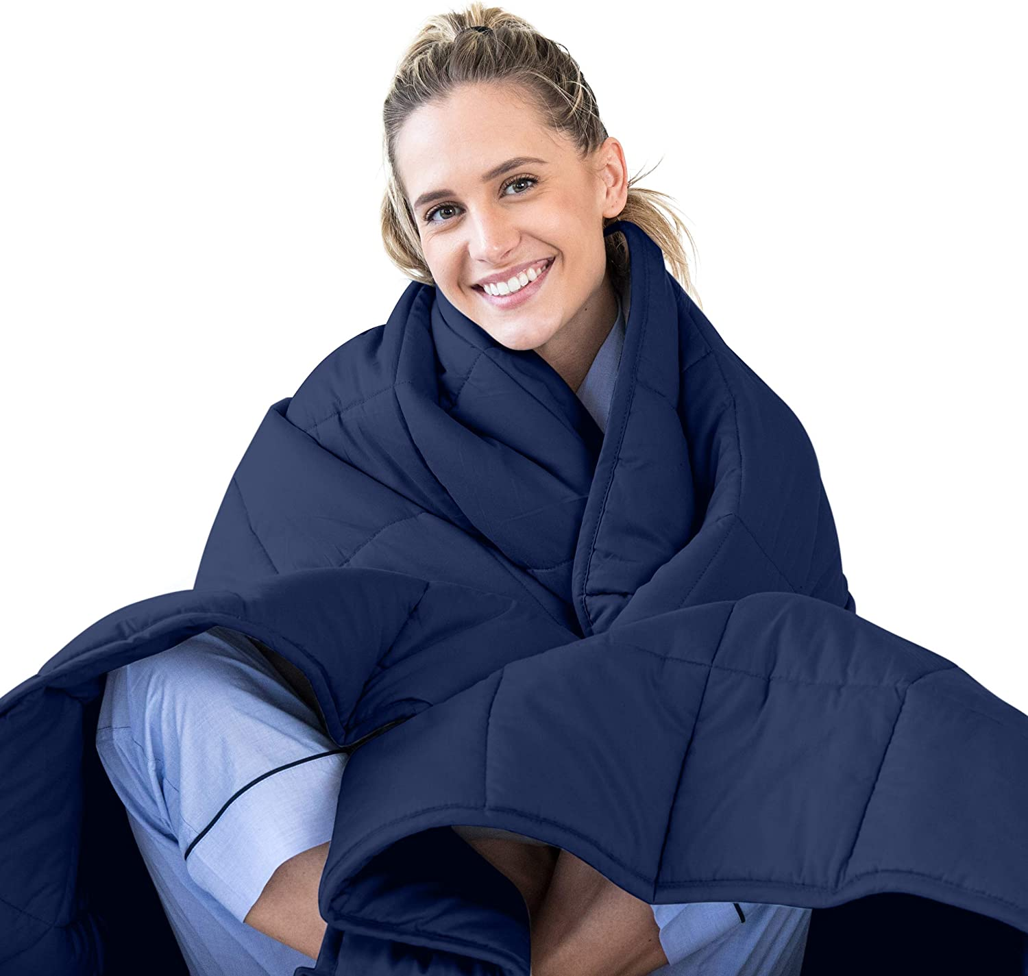 LUNA Adult Weighted Blanket | Individual Use - 20 lbs - 60x80 - Queen Size Bed | 100% Oeko-Tex Certified Cooling Cotton & Glass Beads | USA Designed | Heavy Cool Weight | Navy