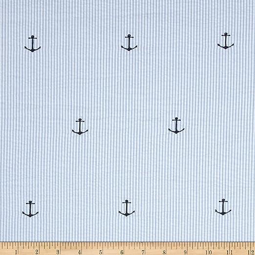 Amazon Com Kaufman Embroidered Seersucker Anchors Blue Fabric