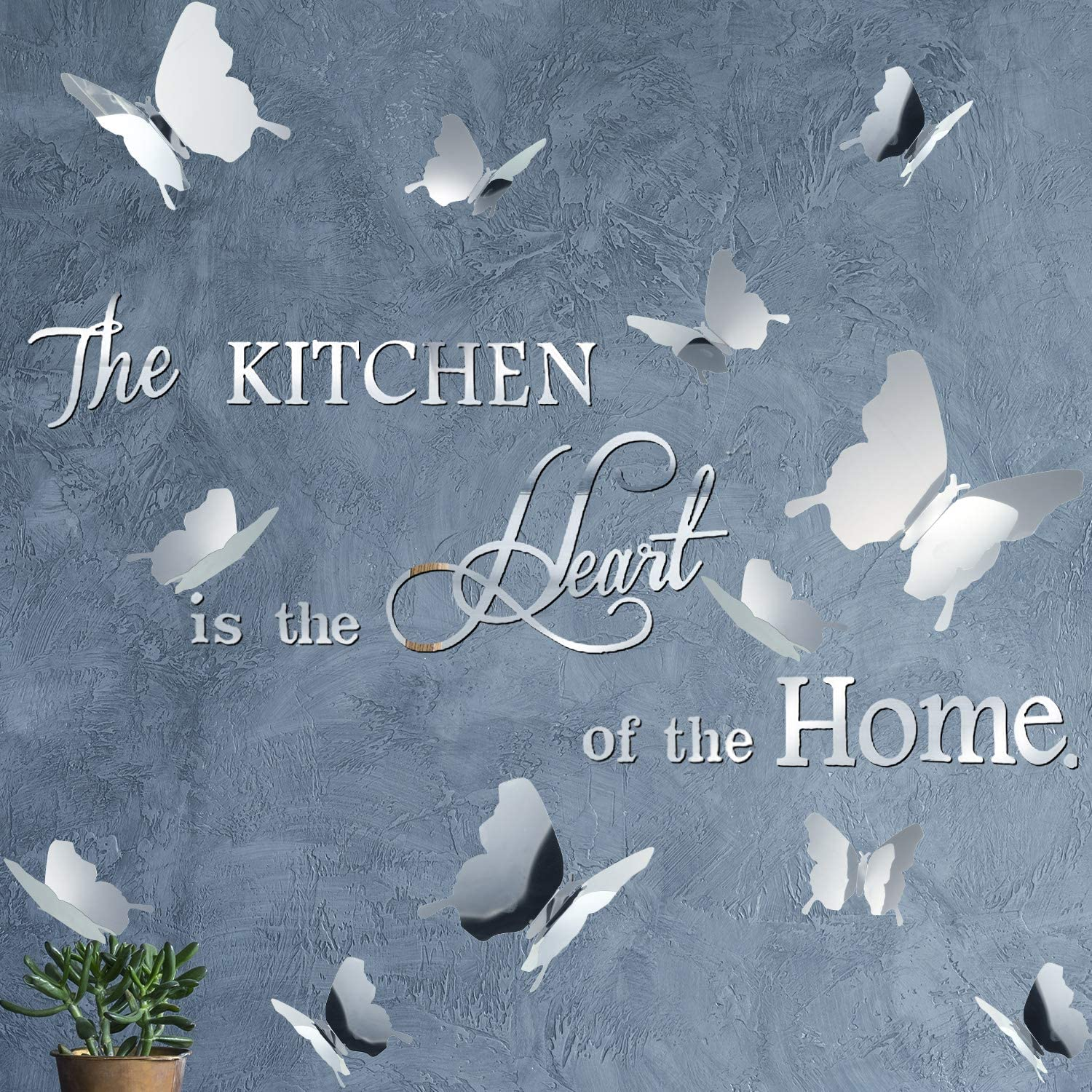 DIY Mirror Silver The Kitchen Wall Stickers with 12 Pieces 3D Butterfly Removable Mural Stickers for Kitchen Dining Room Wall Decal