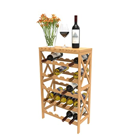 Amazoncom Rustic Wine Rack Space Saving Free Standing Wine Bottle