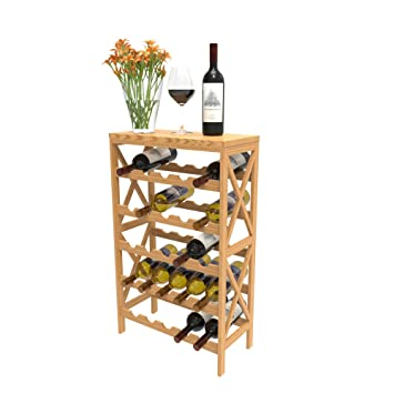 Rustic Wine Rack Space Saving Free Standing Wine Bottle Holder For Kitchen Bar Dining Or Living Rooms Classic Storage Shelf By Lavish Home