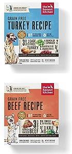 Honest Kitchen Grain Free Dehydrated Dog Food 2 Pack Bundle; Turkey, Beef. 2 Lbs. Each (4 Lbs Total)