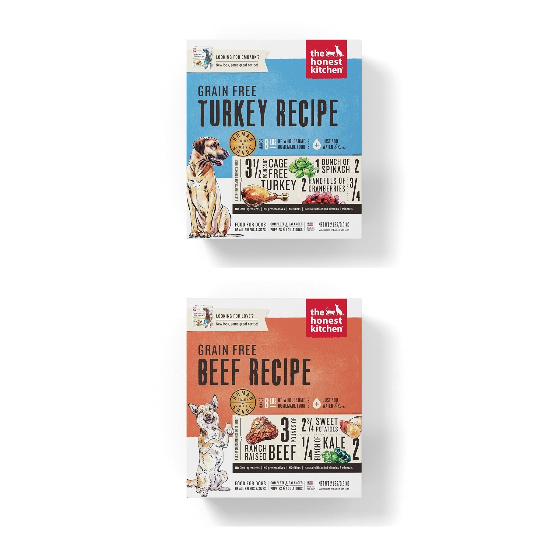 Honest Kitchen Grain Free Dehydrated Dog Food 2 Pack Bundle; Turkey, Beef. 2 lbs. ea. Fast Delivery 4 lbs. Total