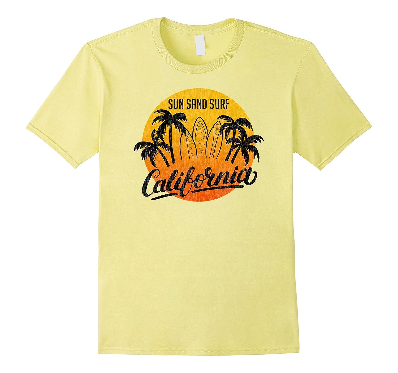 vintage sun sand surf california retro t shirt art
