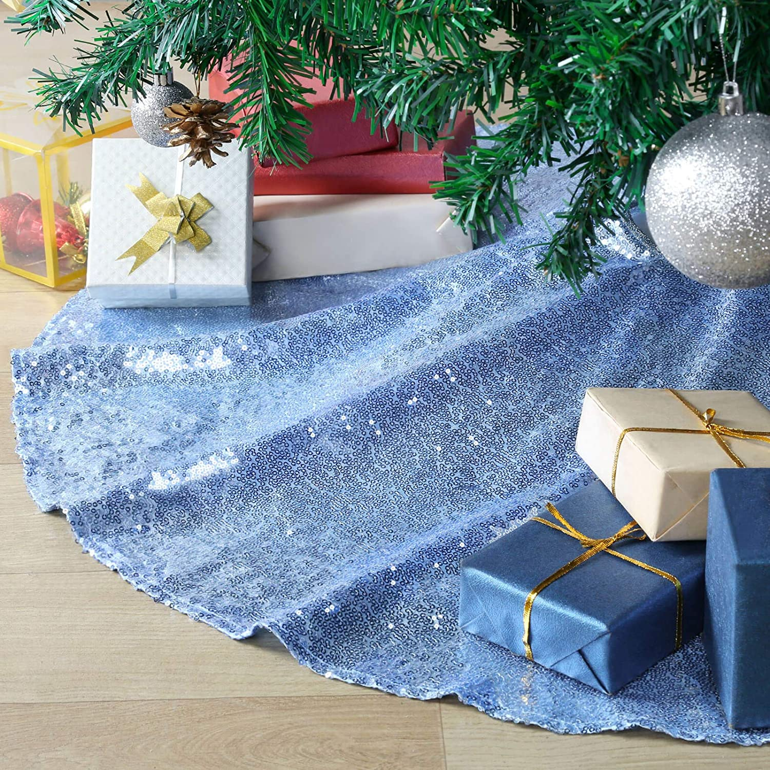 B-COOL Christmas Tree Skirt Glitter Xmas Tree Decor Sequin Tree Cover Layers Home Farmhouse Personalized Baby Blue 36Inch