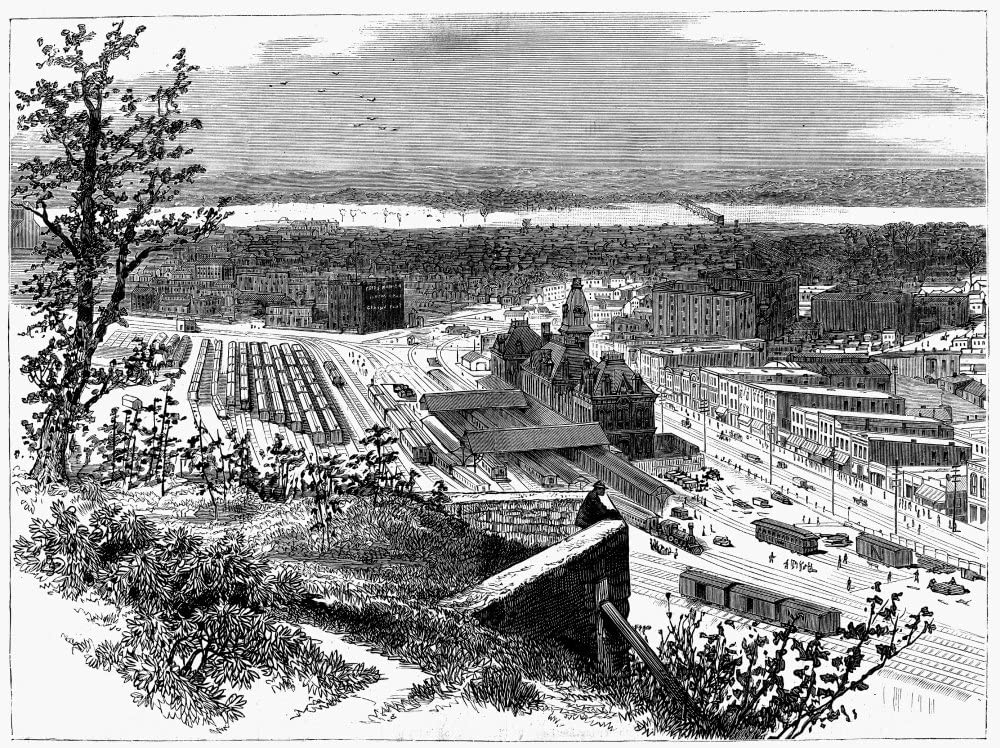 Kansas City 1881 Nview Of Kansas City Missouri Showing Part Of Kansas City Kansas Across The Missouri River Wood Engraving 1881 Poster Print by (18 x 24)