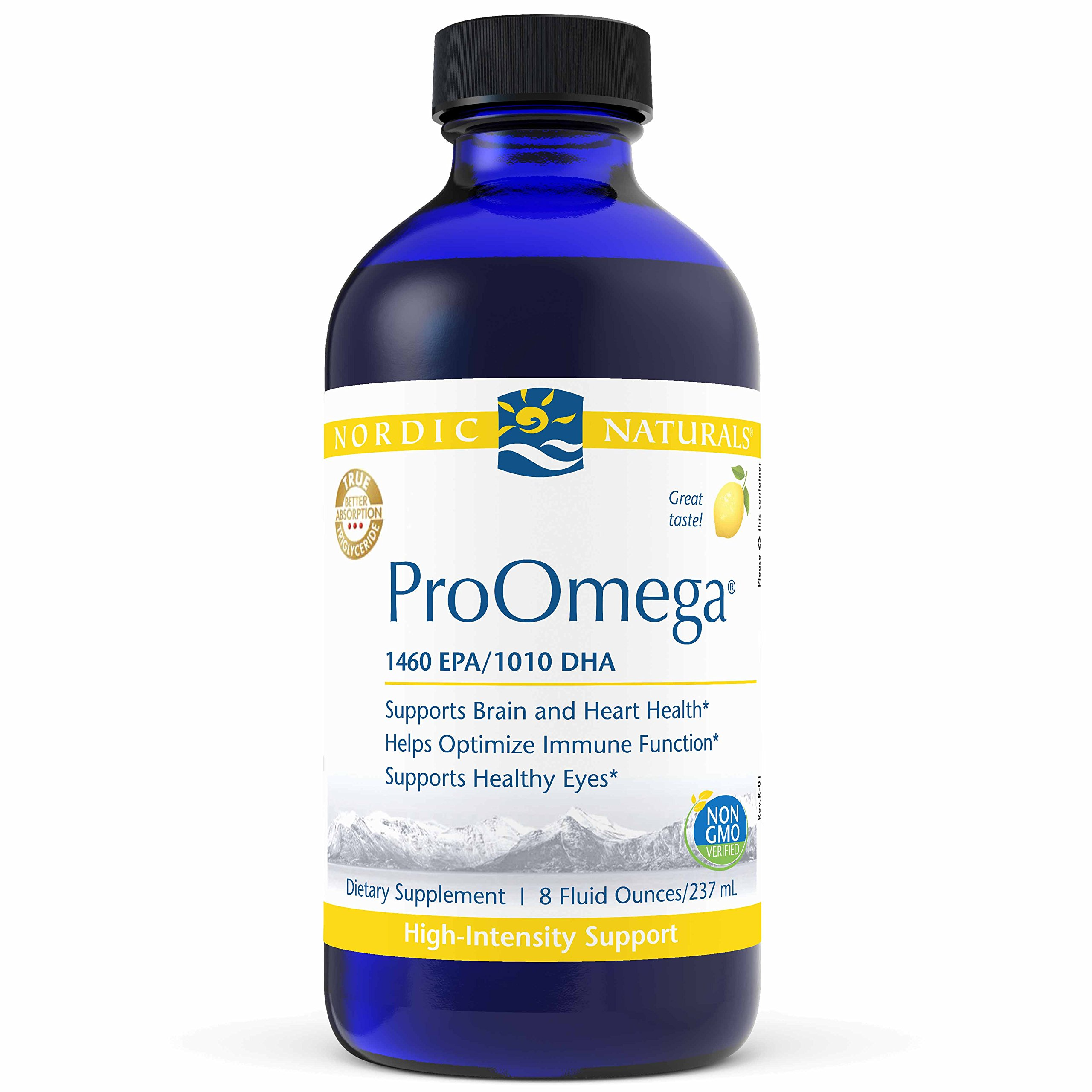 Nordic Naturals ProOmega Liquid - Fish Oil, 1460 mg EPA, 1010 mg DHA, High-Intensity Support for Cardiovascular, Neurological, Eye, Joint, and Immune Health*, Lemon Flavored, 8 oz. by Nordic Naturals