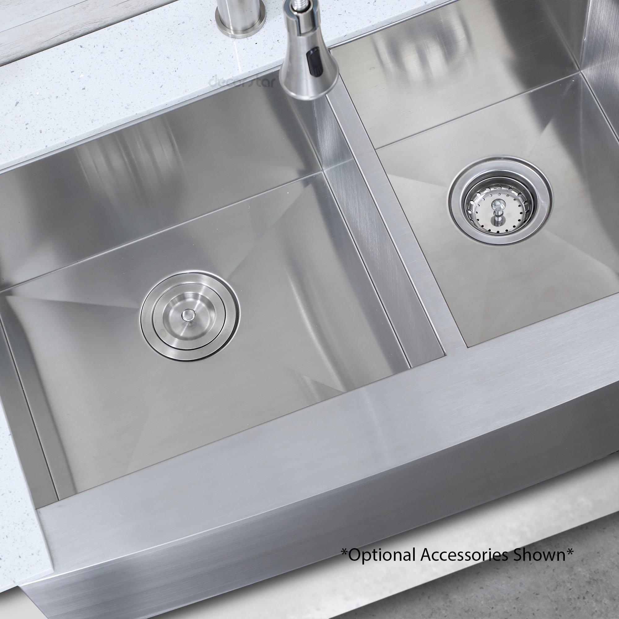Decor Star F-002-Z 33 Inch x 20 Inch Farmhouse Apron 60/40 Offset Double Bowl 16 Gauge Stainless Steel Luxury Handmade Kitchen Sink cUPC Zero Radius by Décor Star (Image #4)
