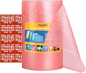Fuxury Pink Anti-Static Bubble Cushioning Wrap Roll Air Bubble Roll 1 Roll 36 Feet,Perforated Every 12
