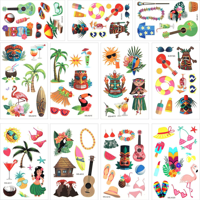Hsei 316 Piezas Tatuajes Temporales Temáticos de Luau Hawaiano ...