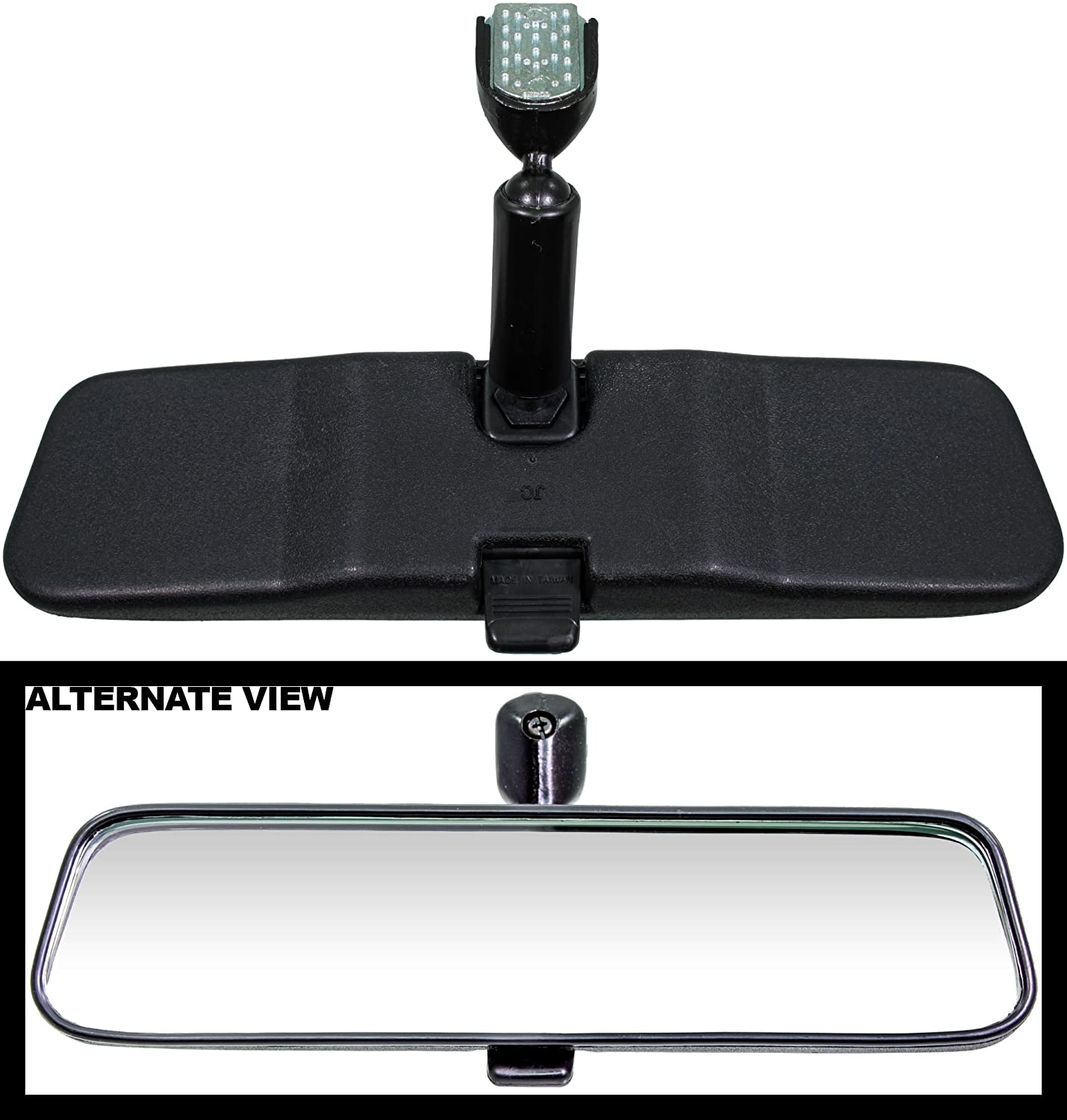 APDTY 8978 Universal Rear View Mirror Complete Kit With Glue And Mirror Mount (Installs Anywhere Space Allows 10 Inches Wide; 4 Inches Deep; 2.5 Inches High)