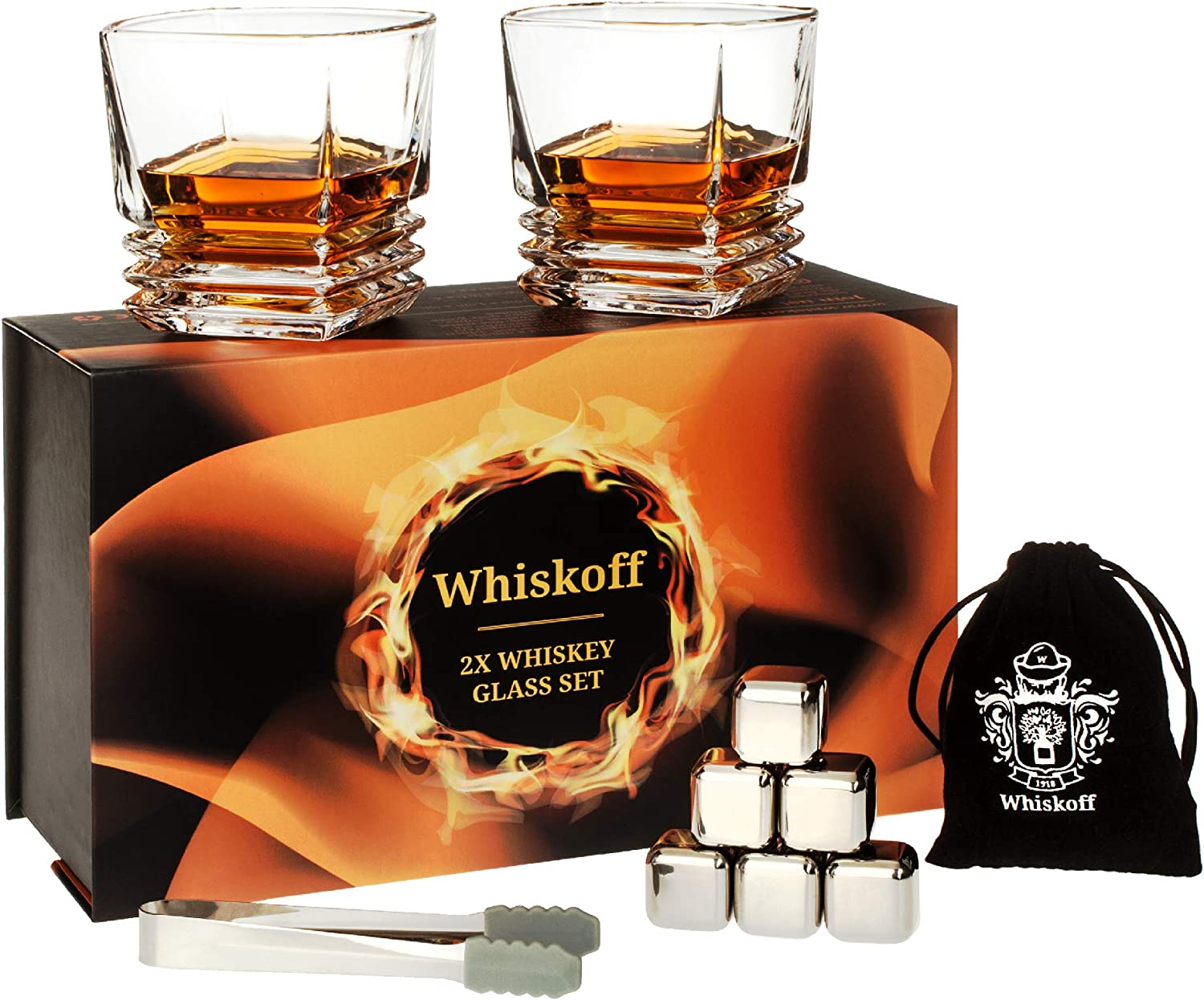 Whiskey Glass Set - Bourbon Stainless Steel Ice Cubes Set of 6 - Whiskey Scotch Gift Box - Bourbon Glasses Gift Set - Whiskey Metal Cubes Gift Box - Whisky Stone Ice Cubes Set - Birthday Gift For Men