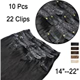 """GEX 14-22"""" 100% Human Hair Extensions Full Head Lace Clip In with 10 Separate Pieces (Total 22 Clips ) Silky Straight Remy Brazilian Hair"""