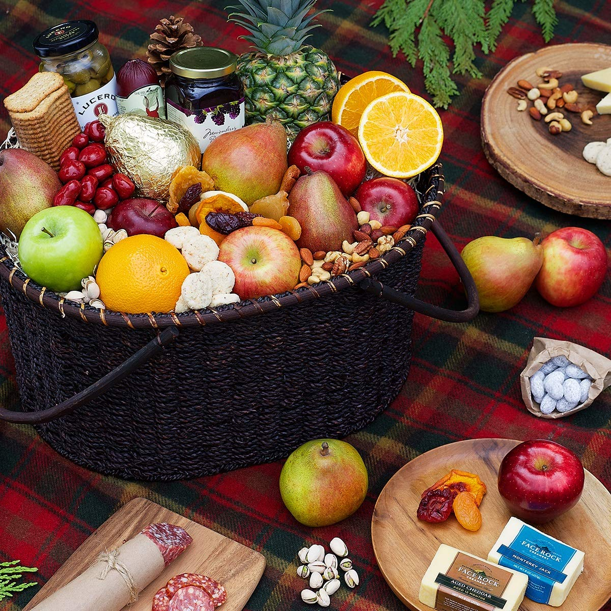 The Fruit Company Season's Bounty Gourmet Fruit Basket - 16 pieces fresh pears, apples, oranges and pineapple 2 Fresh Oregon Cheeses Summer Sausage Gentile Salami Assortment Savory & Sweet Treats