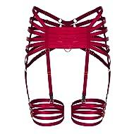 PETMHS Women Strappy Harness Garter Belt Leg Waist Stockings Suspender Body Caged Adjust Plus Size Gothic Punk Harnessess