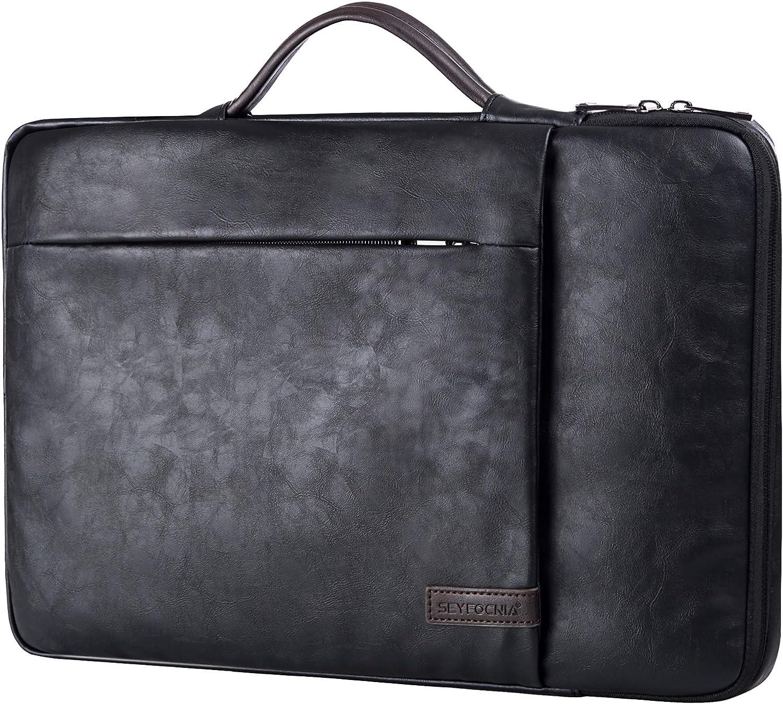 """15.6 Inch Laptop Sleeve Case Computer Bag,360° Protective Leather Waterproof Laptop Shoulder Bag,Handbag for Most Popular 14""""-15.6"""" Notebooks -Black"""