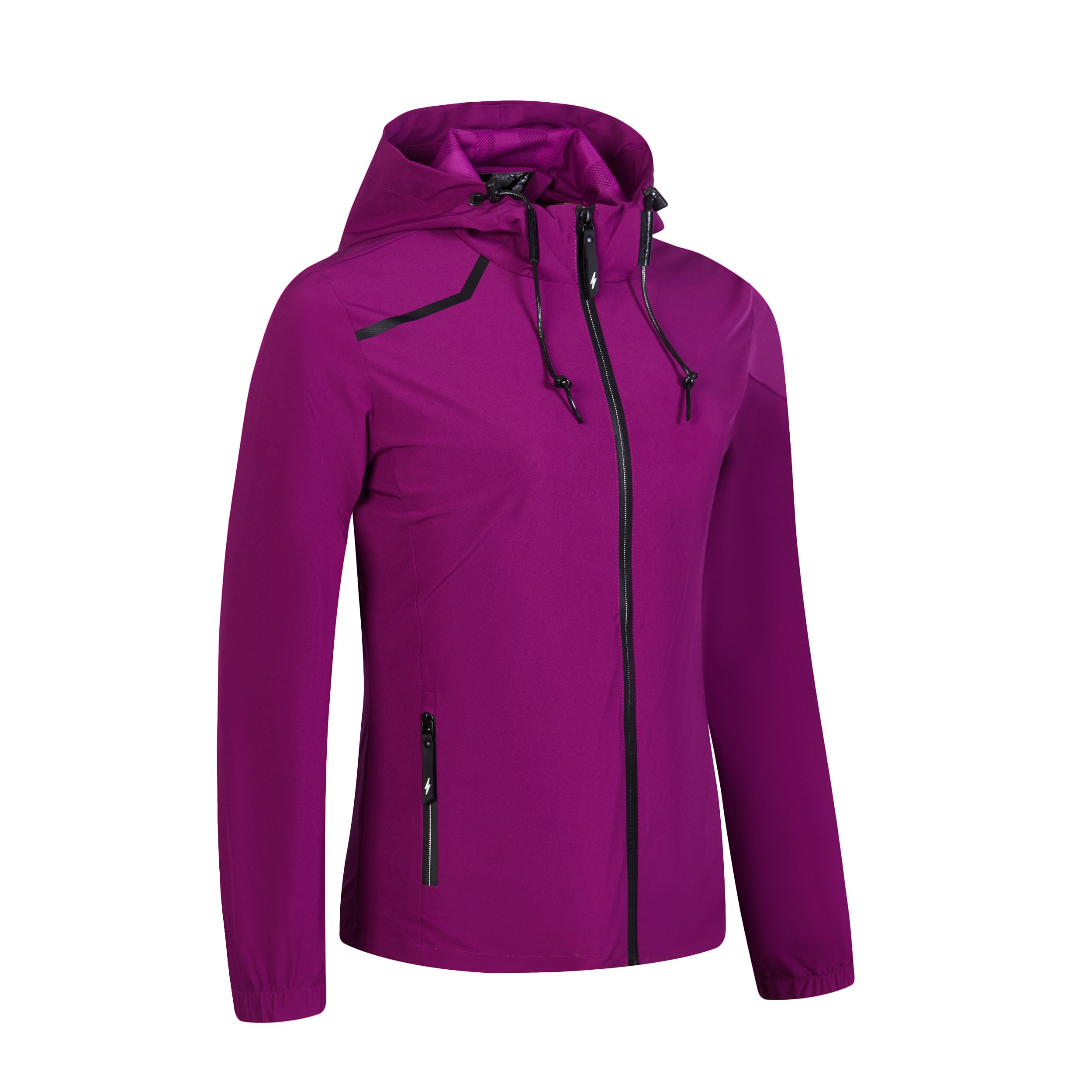 UDAREIT Womens Windbreaker Jackets No Fleece Winter Rain Jacket Coat Water Resist Casual Full Zip Spring Running Hiking Clothes Plus Size Purple M