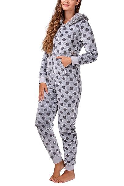 8386e2b10db985 maluuna - Damen Fleece-Onesie mit Bündchen an Arm- und Beinabschluss,  extrem kuscheliger Damen Jumpsuit, Overall mit Fell, Einteiler, Homewear