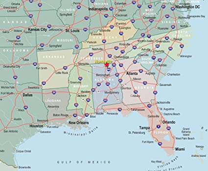 Home Comforts Laminated Map - Interactive Map Southeast United States  Freedomday Info in The Simple US - 24 x 36