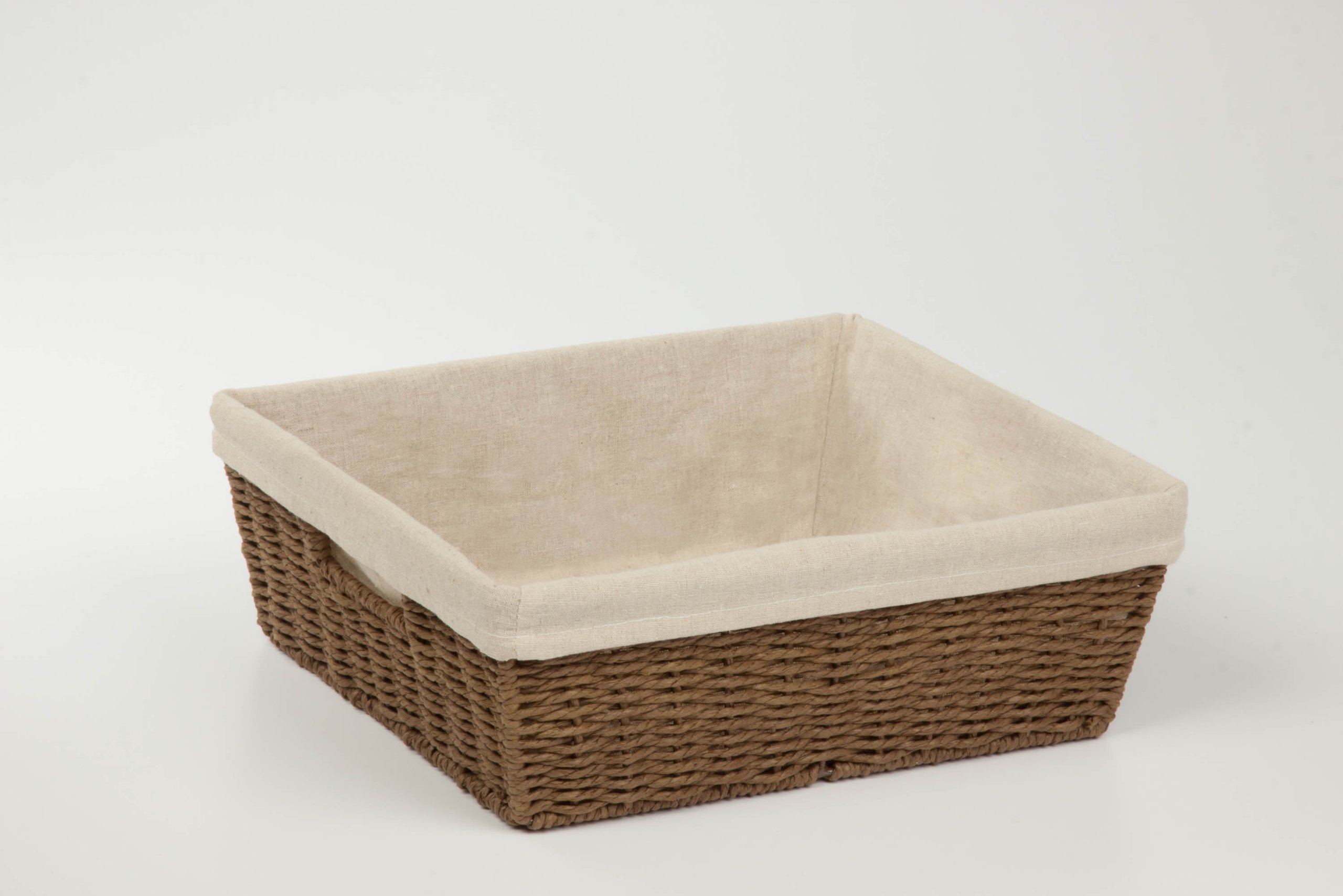 Honey-Can-Do STO-03564 Parchment Cord Basket with Handles and Liner, Brown, 12.99 x 15 x 5 inches