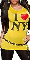 """KouCla Damen T-Shirt Top Longshirt """"New York"""" Rundhals-Auschnitt"""