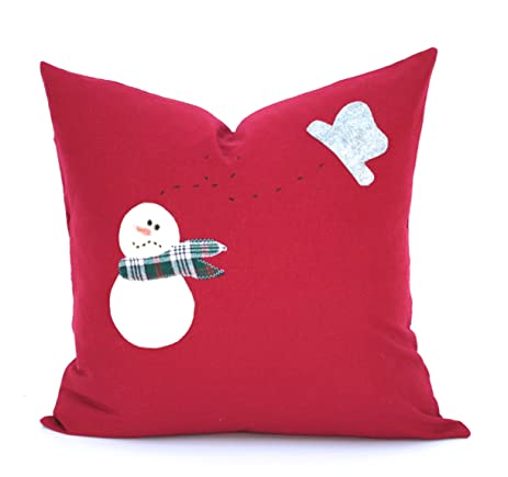 hand made snowman christmas pillow cover 20x20 holiday pillow decorative pillow cushion