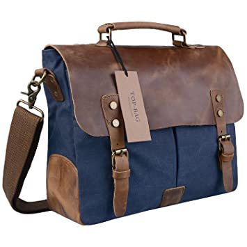 Sanlise Retro Designer Mens Canvas Leather Messenger Bag Briefcase ...