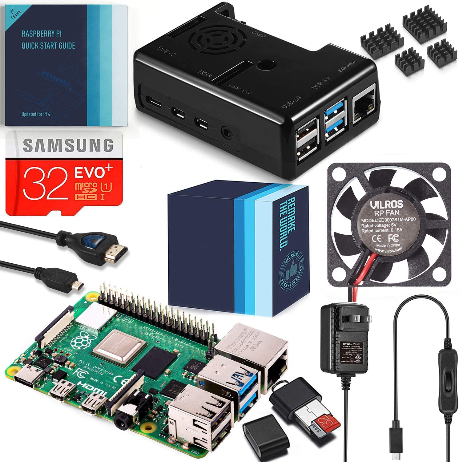 Vilros Raspberry Pi 4 Complete Kit with Black Fan Cooled Case (2GB)