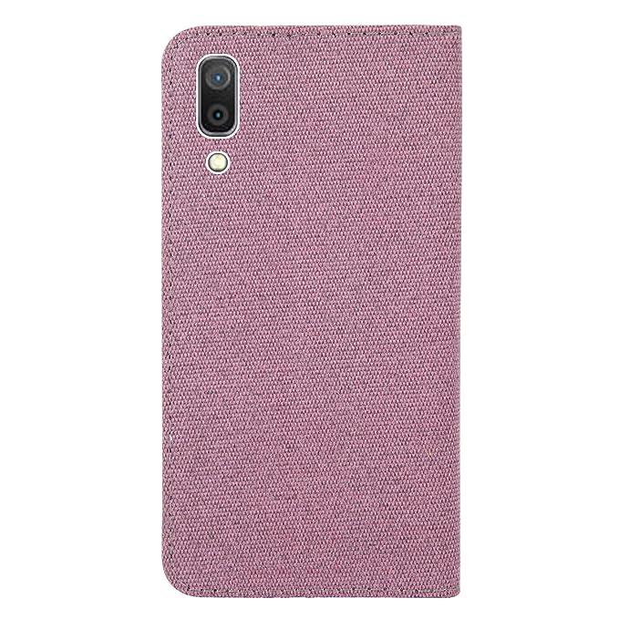 HMTECH Galaxy A20E Case for Samsung Galaxy A20E Cover Linen Cloth PU Leather Flip Notebook Wallet Case Magnetic Stand Card Slot Folio Bumper Case for Samsung Galaxy A20E,YX Cloth Rose Gold