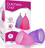 Dutchess Menstrual Cups Set of 2 with Free Bag - Large Size A - Best Alternative Protection to Tampons and Cloth Sanitary Napkins - Post Childbirth Size