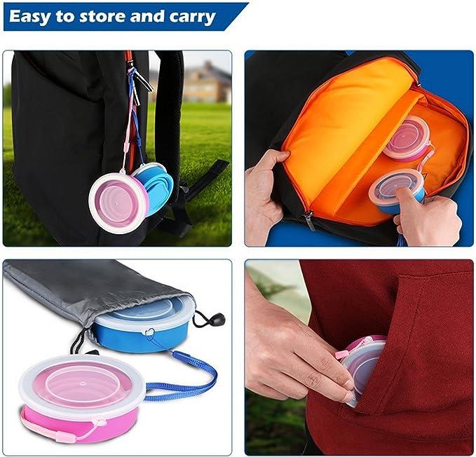 Ruesious 2 pcs Tazas de Viaje 200ml de Silicona Plegable Portátil y Reutilizable,Vaso Con Tapa sin BPA para camping senderismo y Viaje.(Azul y Rosa)